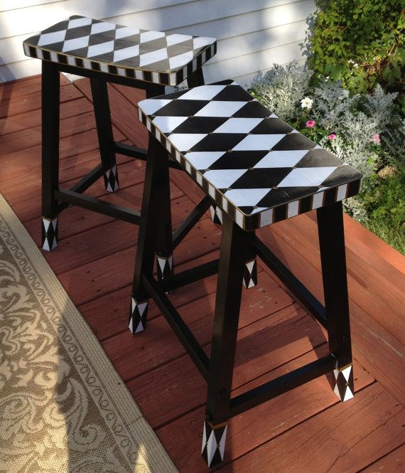 "Hand Painted Harlequin 24"" Bar Counter Stool - Saddle Seat - Black and White. $135.00, via Etsy."