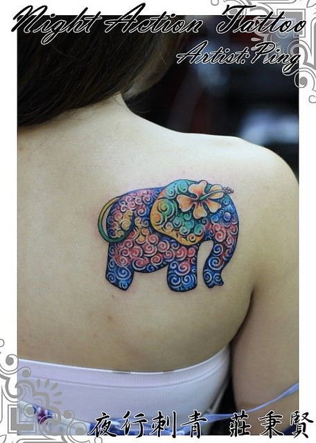 unusual flower watercolor elephant tattoo on shoulder blade for girls