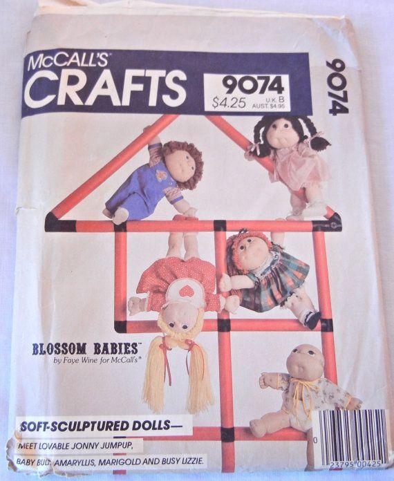 Blossom Babies Dolls Pattern, Cabbage Patch Imitation Sculptured Dolls, UNCUT McCall's 9074, Faye Wine Design by CandyAppleCrafts $8