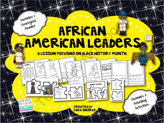 African American Leaders - Emergent Reader and Activities - Black History month is February. This is a fun and engaging product focused on celebrating African Americans who made our world a better place.  5 lucky winners will receive this product to use in addition to their Black History Month lessons.  Enjoy!.  A GIVEAWAY promotion for African American Leaders - Emergent Reader and Activities from Kindergarten Boom Boom on TeachersNotebook.com (ends on 1-1-2014)