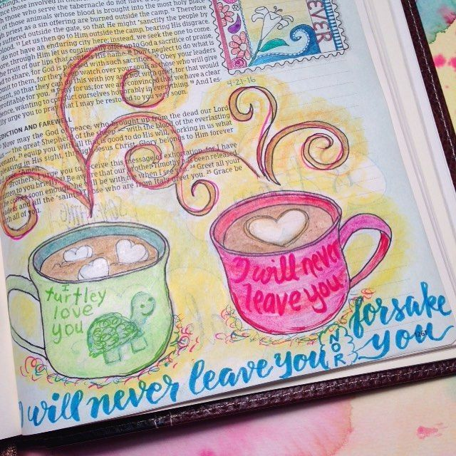 May 16. Hebrews 13: 5-6.  Oh what comforting words.  Knowing that He won't get mad at us when we mess up knowing that He shows up whenever we need Him--every single time.  He's not surprised and there is no rejection. He turtley loves you.  I drew 2 coffee cups to remind me that He is the friend that never forsakes and is truly always there to listen and guide our hearts.  #scriptureart #scripture #journalingbiblecommunity #journalingbible #journaling #daily #dailybible #documented…