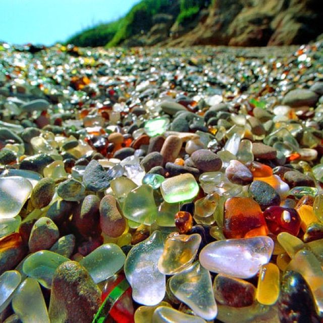 Sea Glass Beach - Fort Bragg, CA -- I drove right by this treasure trove because I didn't know it existed at the time. I do dream of going back just to take a gander, because I adore collecting sea glass from all my travels.