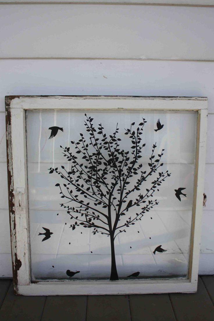 Great idea for vinyl on an old window~