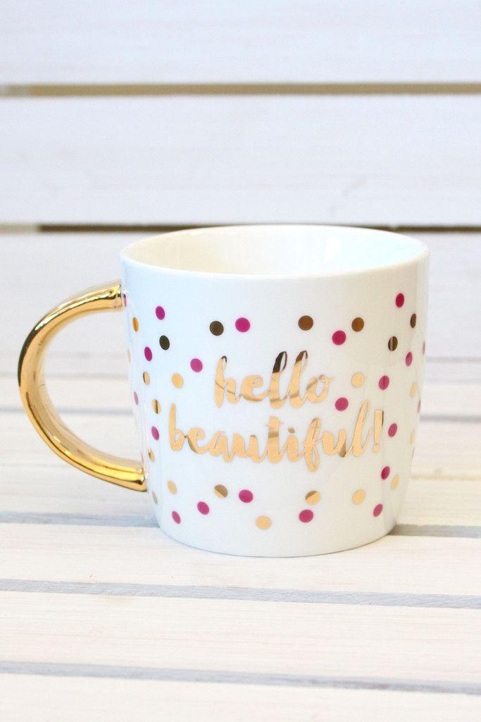Hello Beautiful Ceramic Mug {14oz} - The Fair Lady Boutique