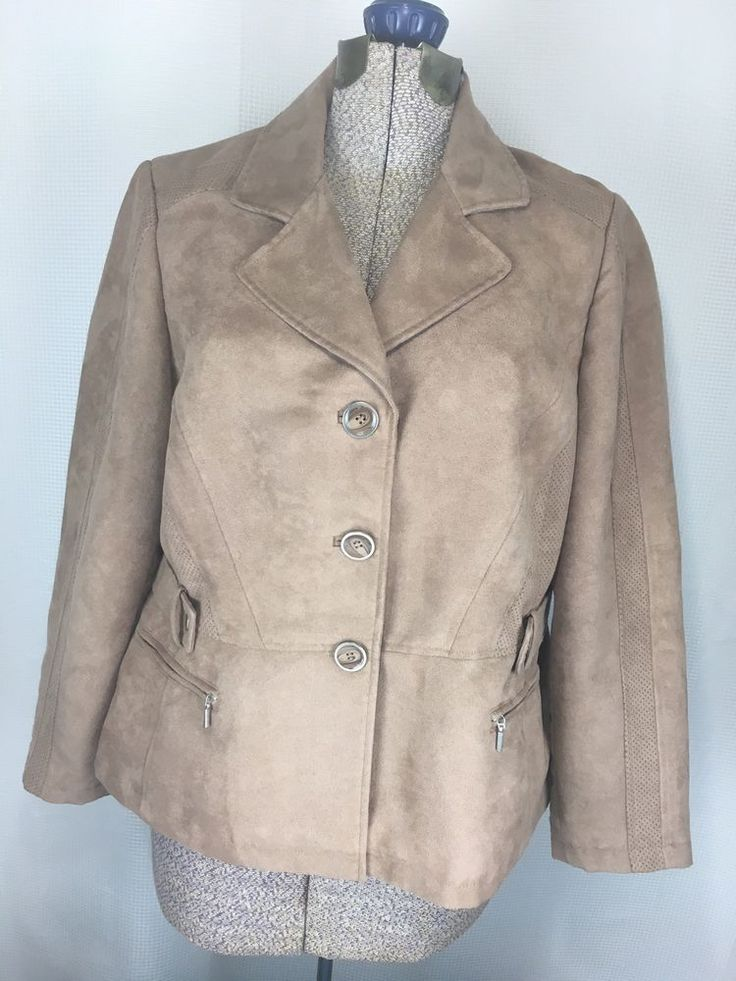 Chicos Faux Brown Suede Button Jacket Satin Lined Size 2 LG Womens Tan Blazer #Chicos #BasicJacket