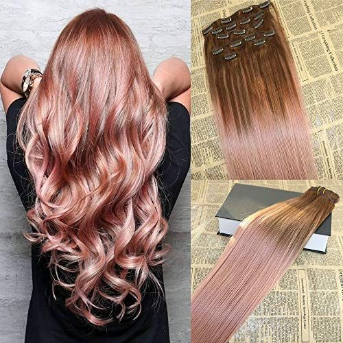 "Enjoy exclusive for 20"" 120G / 7Pcs Remy Balayage Clip Hair Extensions Rose Gold Omber Human Hair Extensions Clip Real Hair Double Weft Thick Ends Clip Hair Extensions Full Head online"