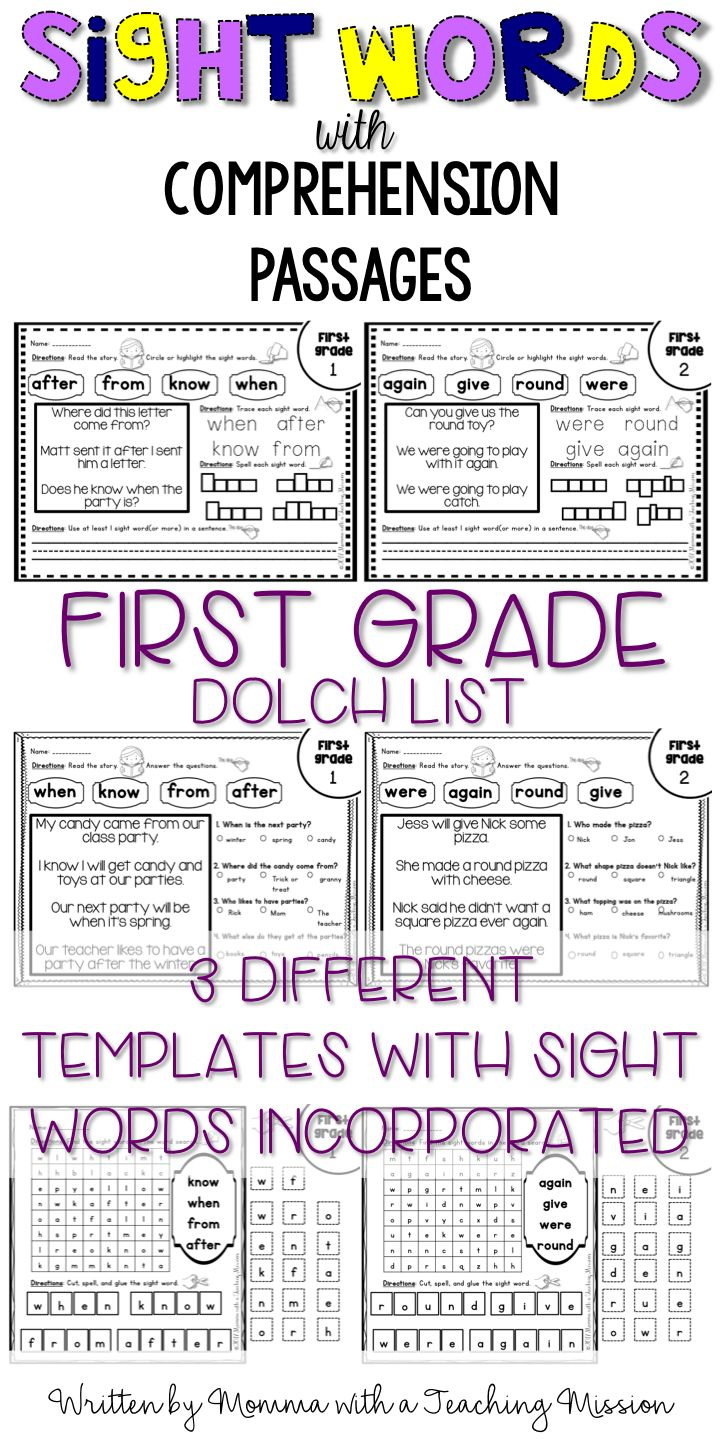 Need some small group, independent activities, formative assessments, word work, or homework for your young learners to work on to practicing sight words? Then this is the resource for you!!  ♦This resource incorporates all 41 words on the Dolch first grade sight word list.  This resource was created to help those students who struggle with reading sight words in stories. We all have had those students who, in isolation, can spell or know sight words, but when it comes to reading them within