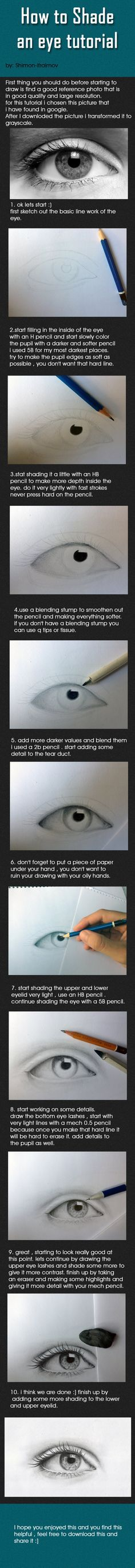 Eye tutorial -- very realistic -- drawing people -- drawing faces -- art.
