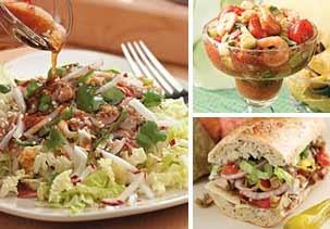 Image: (Clockwise from left) Sesame tuna salad, coctel de camarones & Italian vegetable hoagies (Courtesy of Delish; courtesy of Delish; © Ken Burris)