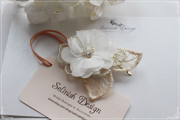Flower Headpiece, Gold Hair Flower,Hair Flower, Hair Accessories, Wedding Headpiece, Gold weddings, Gold and Ivory,Fascinator-code:HP172gold by SelinishDesign on Etsy
