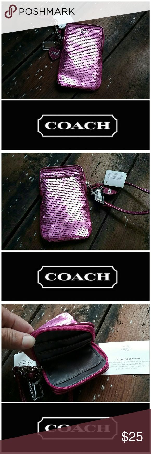 Coach Wristlet **NWT** Perfect spring color I would say it's too small for a phone. Good use for keys lipstick and credit card/cash. This would make a great easter gift for a young girl. Coach Bags Clutches & Wristlets