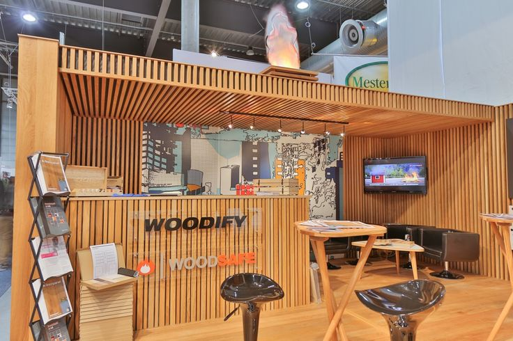 Exhibition stand, Woodify, Bygg Reis Deg 2013. Solid wood, oak, fire retardant treated wood, Brannpanel. Counter, bar, printed plywood, acoustics.