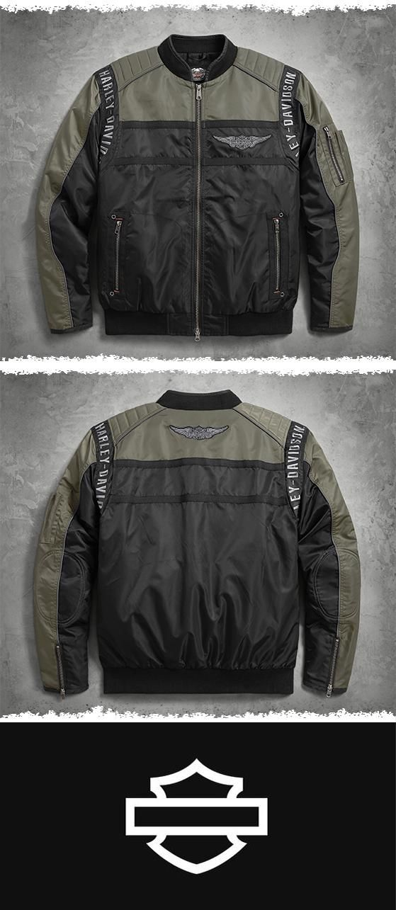 Like the leather riding jacket, the men's bomber jacket is a classic. | Harley-Davidson Men's Mainstreet Nylon Bomber Jacket