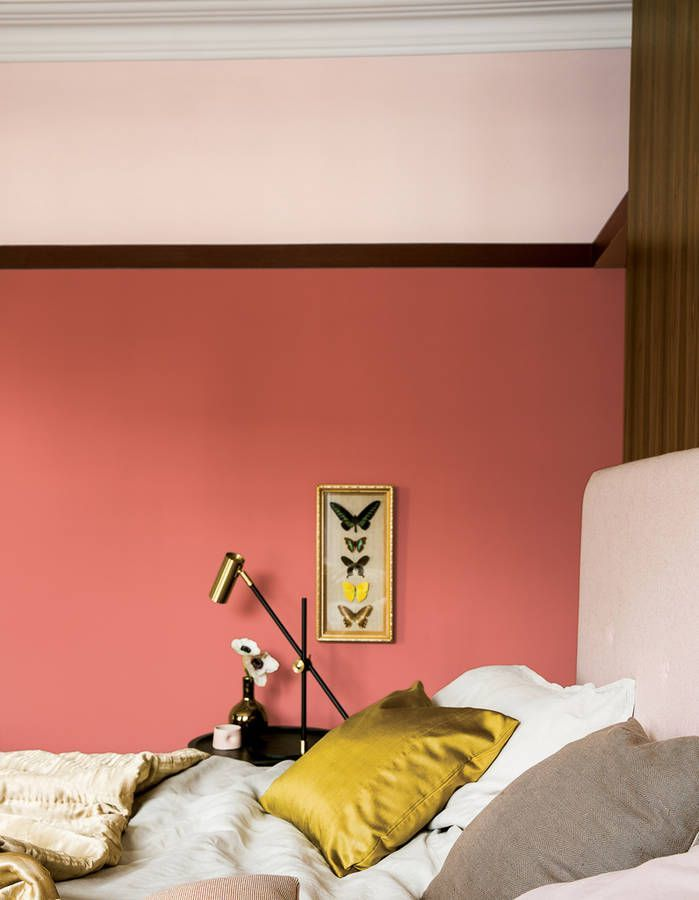 Mur #rose corail et #jaune doré, un mélange qui fonctionne.