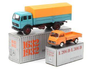 Ensemble d'un camion & un utilitaire MERCEDES A+.b on y retrouve les marques : CURSOR MODELL & NZG - un petit manque de papier sur un rabat de boîte