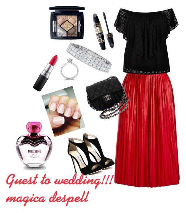 """""""Guest to wedding!!!"""" by magica-despell on Polyvore featuring Topshop, River Island, Chanel, MAC Cosmetics, Christian Dior, Max Factor and Moschino"""
