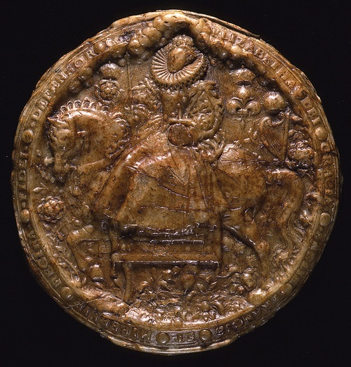 Great Seal of Elizabeth I used by the Chancery, the Tudor Civil service, to show that the document attached was ordered in the Queen's name. The pattern (or matrix) by Nicholas Hilliard. Used 1586 to 1603. The National Archives UK.
