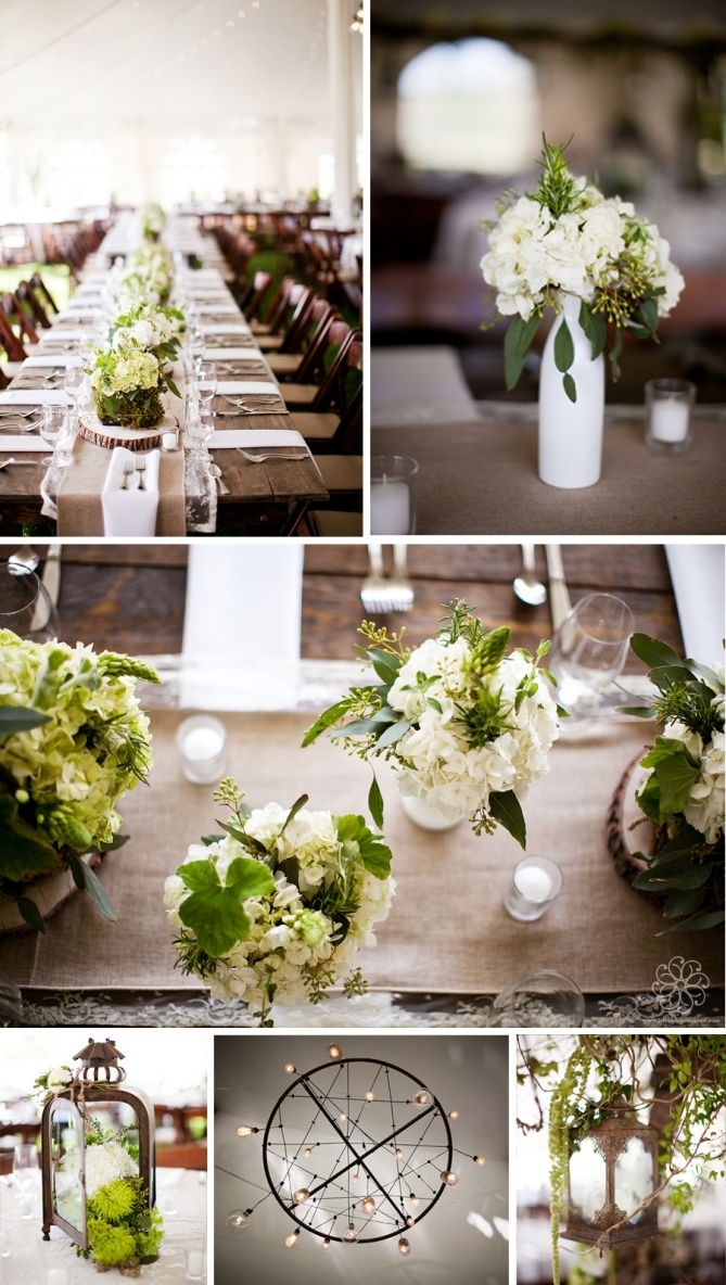 Green and white rustic chic wedding details