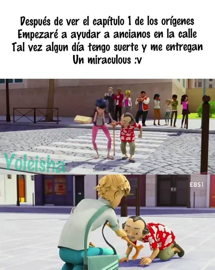 Miraculous Ladybug & Chat Noir - Ofrecer ayuda en la calle - Marinette Adrien Master Fu - Meme