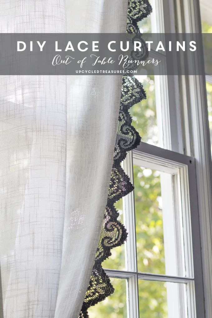 How to make Anthropologie Inspired Lace Curtains using lace table runners | UpcycledTreasures.com