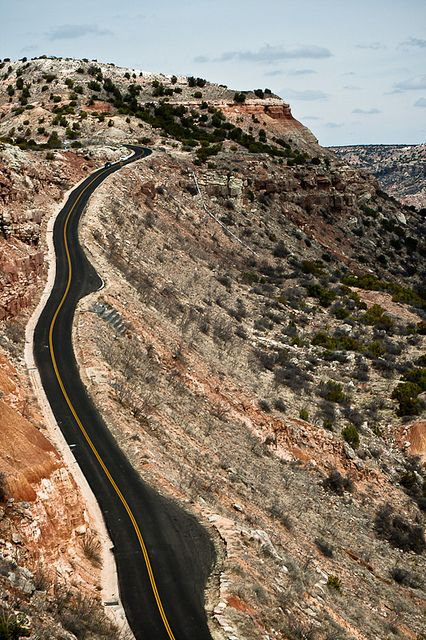 Canyon Road, Palo Duro Canyon, Texas by 75Central, via Flickr The Drivers Ed. Teacher would take us here to drive.