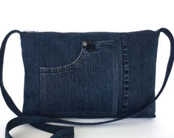 Recycled crossbody bag Blue denim side purse by Sisoibags on Etsy