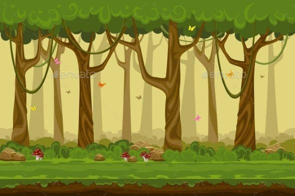 Cartoon Forest Landscape, Endless Vector Nature - Nature ...