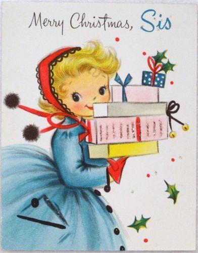 #1667 50s Pretty Hallmark Glittered Girl-Vintage Christmas Card-Greeting
