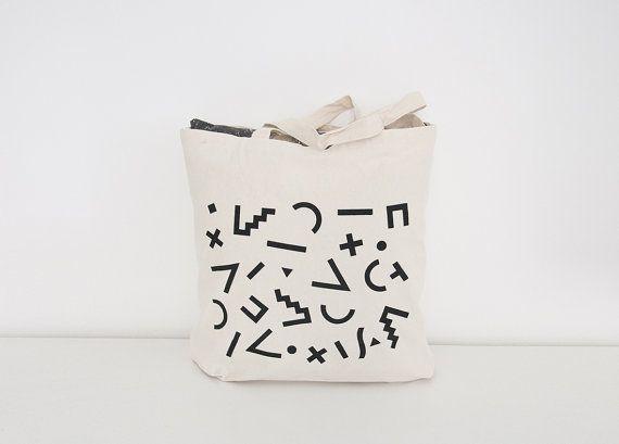 Pattern  Maxi canvas bag  Geometric 80s pattern par Oelwein sur Etsy