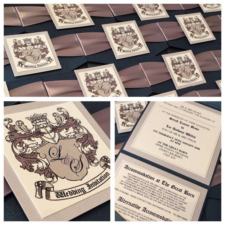 Coat of Arms Pocketfold Wedding Invitations in Midnight Blue & Silver/Grey