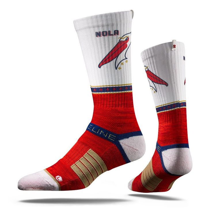 Strideline® 2.0 THE UNI New Orleans Pelicans White–Red–Blue–Gold Crew Socks NEW
