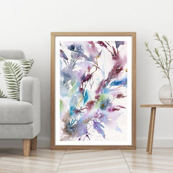 Watercolor Floral Painting Blue Leaves Digital Print Etsy Floral Painting Watercolor Flower Art Flower Wall Art
