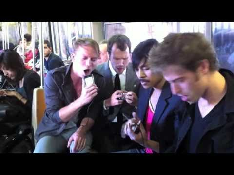 After having their instruments stolen, Atomic Tom gives an impromptu performance using their smart phones -- in the NY subway