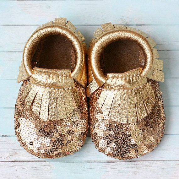 Gold Sequins Baby Moccasins by StitchesAndSoles on Etsy