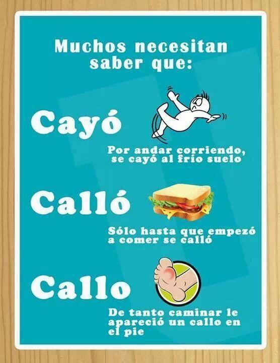 Cayó, Calló, Callo--Fell, __??__, Callous