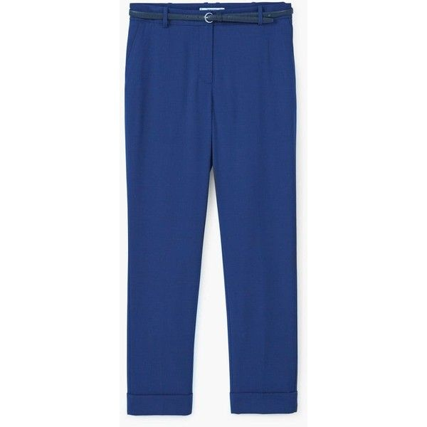 MANGO Suit trousers (2.815 RUB) ❤ liked on Polyvore featuring pants, blue pants, mango pants, cuffed dress pants, mango trousers and suit trousers