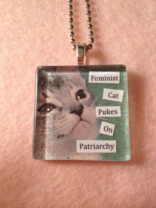 feminist cat necklace