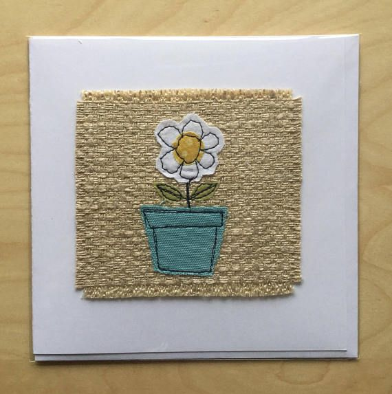 """Made to order. A cute card with an appliquéd flower in a pot. Lots of colours and fabric options available - please let me know preferred colours when you order. This card can have text added to say """"Happy Birthday Mum/Grandma/name, or another phrase of your choice, provided it will"""