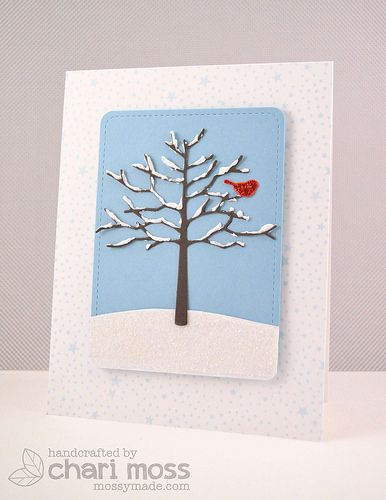 Memory Box dies- Twiggy Tree 98143, Resting Birds 98527 from the MossyMade blog
