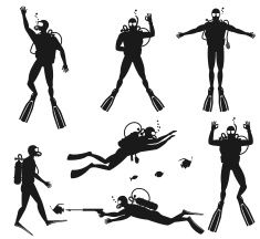 Scuba diver silhouettes. Diving silhouettes on white background vector art illustration