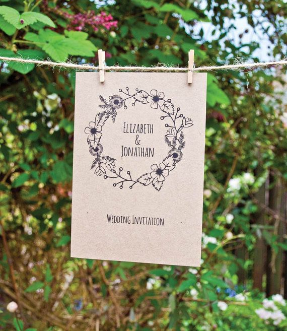 Vintage Floral A6 Folded Wedding Invitation with map.