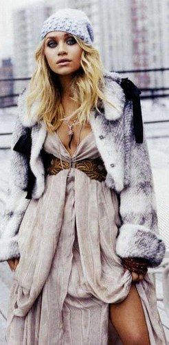Olsen: Fur Coats, Maxi Dresses, Boho Chic, Boho Gypsy, Outfit, Ashley Olsen, Ashleyolsen, The Dresses, Olsen Twin