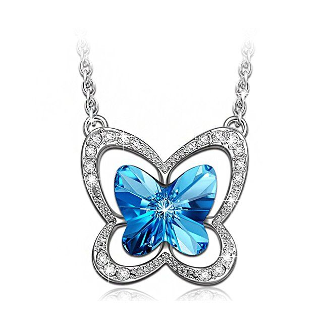 "#trending #jewellery #amazon LADY COLOUR ""Butterfly Charm"" Pendant Necklace for Women with Blue Crystals from SWAROVSKI® - White Gold-Plated Allergen-free"