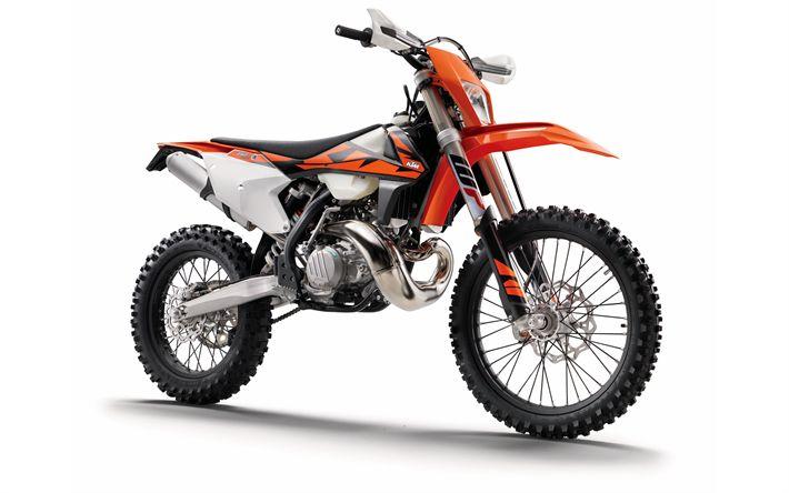 Télécharger fonds d'écran 4k, KTM EXC TPI, fond blanc, 2018 motos, KTM