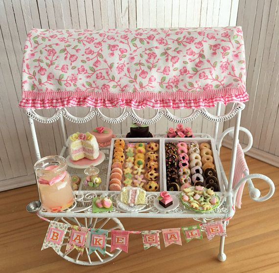 Miniature Bake Sale Cart With Cakes Donuts Cookies Muffins