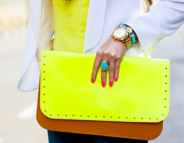neon + tan clutch: