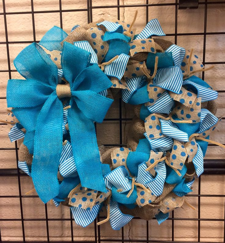 Wreath it! Teal Burlap Wreath Wall Hanging-Natural Burlap, Polka Dots - Made with our patent pending Wreath it! base
