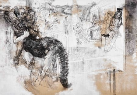 Diane Victor Sowing the Crocodile's Teeth, 2015 charcoal, charcoal dust and acrylic on supawood 175 x 250cm - GOODMAN GALLERY