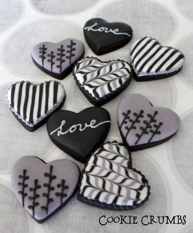 No rule that Valentines Day cookies need to be red or pink!  Hmmm....very sophisticated in black and white