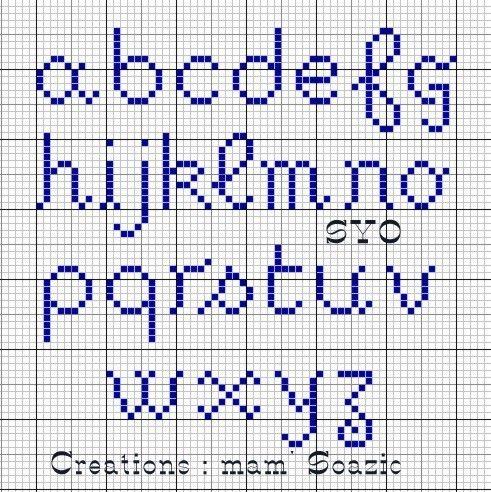 (Grilles gratuites) Pour mes tableaux et cartes de Mamigoz, j'ai crée un alphabet spécial. Voici les minuscules Les majuscules Bonne journée